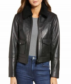 Bridget Womens Shearling Collar Leather Jacket
