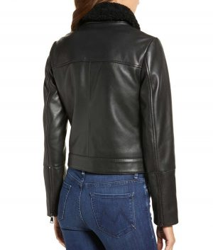 Bridget Womens Genuine Shearling Collar Leather Jacket
