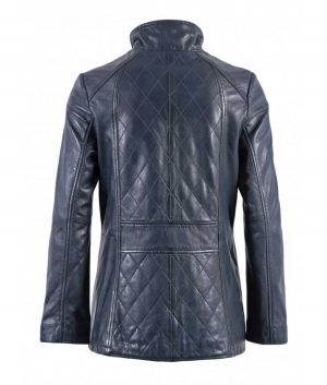 Brittany Womens Diamond Quilted Leather Coat In Navy
