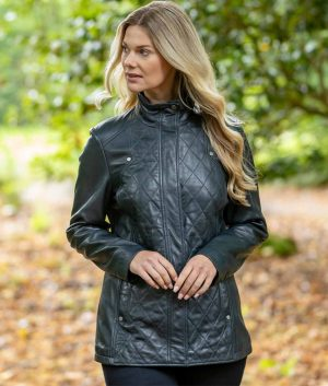 Brittany Womens Diamond Quilted Coat