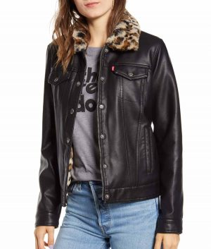Brittany Womens Leather Trucker Jacket