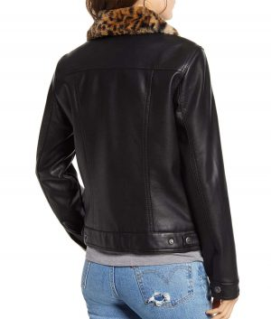 Brittany Womens Fur Lined Faux Leather Trucker Jacket