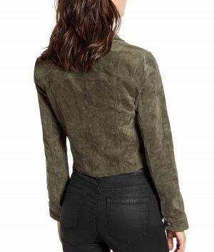 Carol Womesn Spread Collar Suede Trucker Jacket