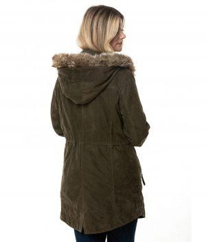 Catherine Womens Parka Coat In Khaki Green
