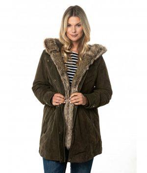 Catherine Womens Leather Coat In Khaki Green