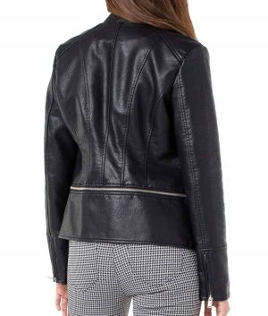 Christine Womens Band Collar Faux Leather Jacket