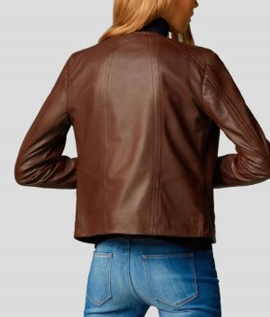 Connie Womens Notch Collar Brown Leather Jacket