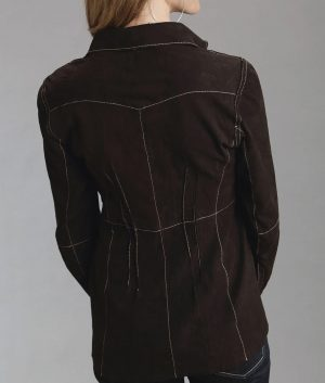 Deann Womens Brown Suede Leather Jacket