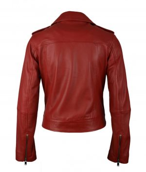 Donita Womens Leather Biker Jacket In Red