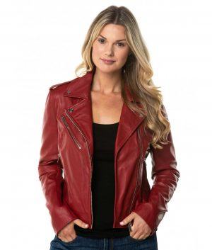 Donita Womens Leather Jacket In Red