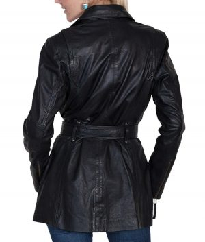 Donna Womens Black Washed Lambskin Leather Coat