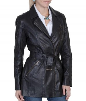 Donna Womens Black Leather Coat