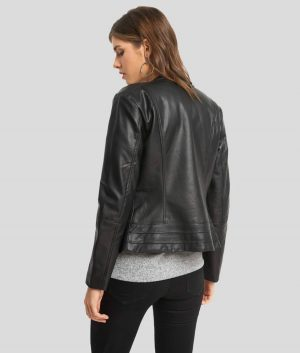 Donna Womens Lambskin Leather Cafe Racer Jacket