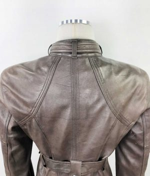 Dorothy Womens Safari Style Belted Brown Leather Jacket