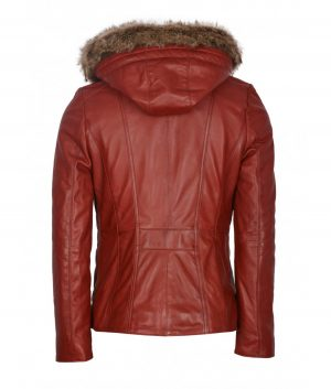 Eileen Womens Slimfit Hooded Leather Jacket In Red