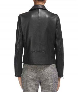 Felicia Womens Notched Spread Collar Moto Jacket
