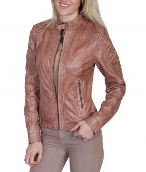 Florence Womens Beige Quilted Leather Cafe Racer Jacket