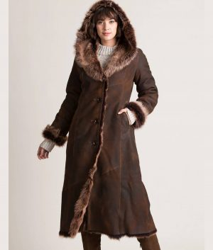 Florence Womens Hooded Leather Coat
