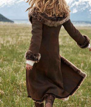 Florence Womens Hooded Toscana Sheepskin Leather Coat