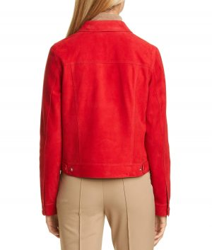 Fred Womens Spread Collar Style Red Leather Jacket
