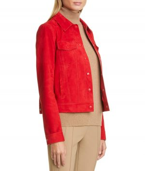 Fred Womens Red Leather Jacket