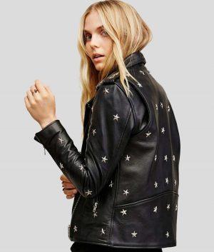 Gloria Womens Black Studded Biker Jacket