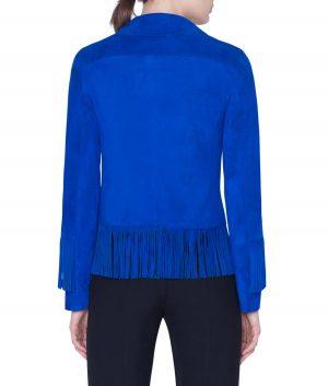 Gloria Womens Blue Goat Suede Fringe Jacket