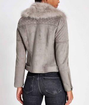 Gloria Womens Grey Fur Collar Suede Biker Jacket