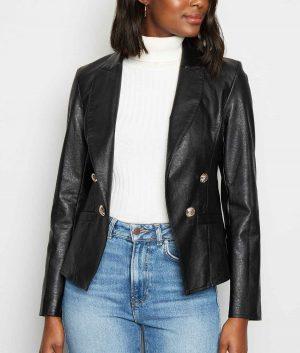 Gracie Womens Black Leather Blazer