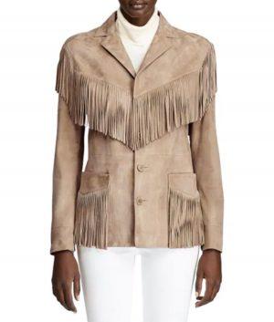 Hannah Womens Notch Collar Fringe Jacket