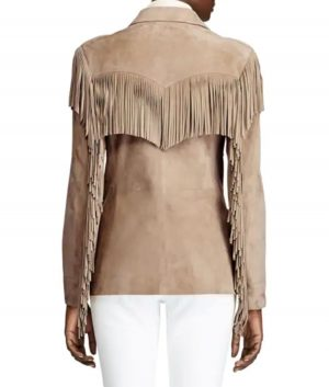 Hannah Womens Notch Collar Fringe Suede Jacket