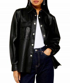 Helen Black Shirt Style Womens Leather Jacket