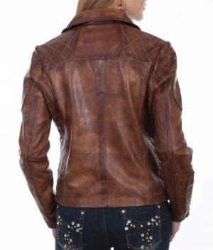 Jacqueline Womens Brown Leather Biker Jacket
