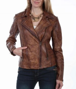 Jacqueline Womens Brown Leather Jacket