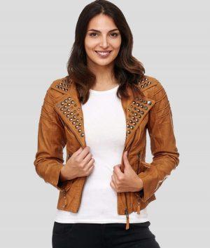 Janet Womens Studded Biker Leather Jacket