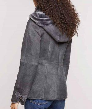 Janet Womens Shearling Sheepskin Coat with Detachable Hood