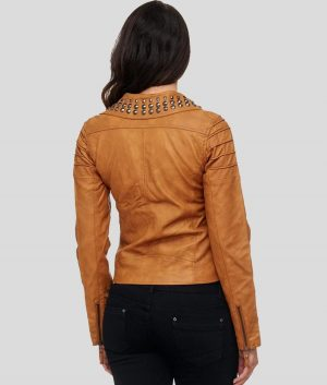 Janet Womens Brown Leather Jacket