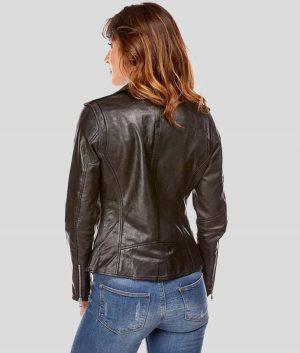 Jesenia Womens Black Leather Biker Jacket