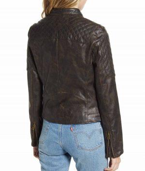 Joyce Womens Faux Leather Cafe Racer Jacket