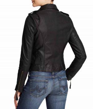 Joyce Womens Classic Black Leather Moto Jacket