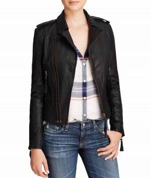 Joyce Womens Classic Black Leather Jacket