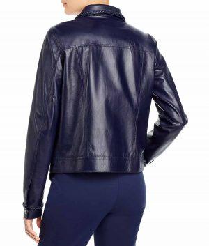 Justina Womens Royal Blue Leather Jacket