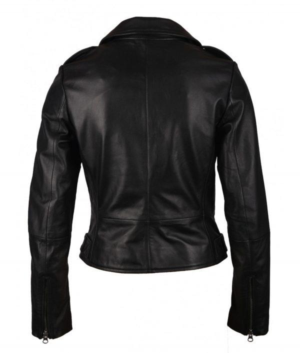 Kathleen Womens SlimFit Black Leather Biker Jacket