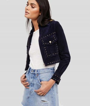 Katie Womens Blue Studded Suede Jacket