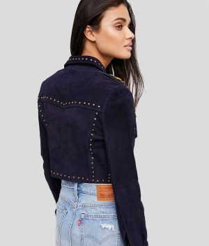 Katie Womens Blue Studded Suede Leather Jacket
