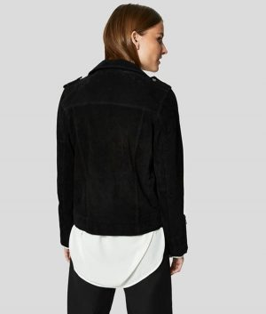 Katie Womens Notch Collar Suede Biker Jacket