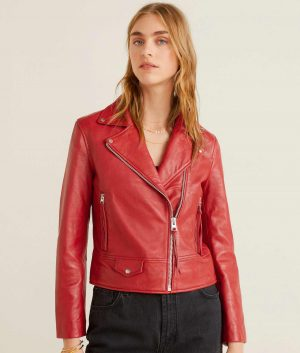 Kristie Womens Red Leather Jacket