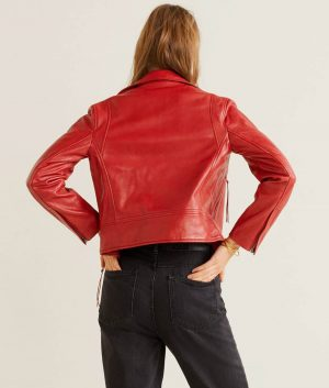 Kristie Womens Lapel Collar Red Leather Biker Jacket