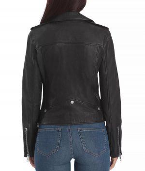 Laura Womens Notch Lapels Leather Biker Jacket