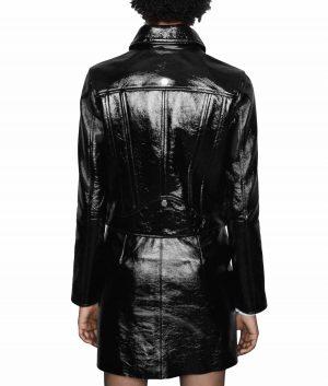 Laura Womens Notch Lapels Faux Leather Biker Jacket